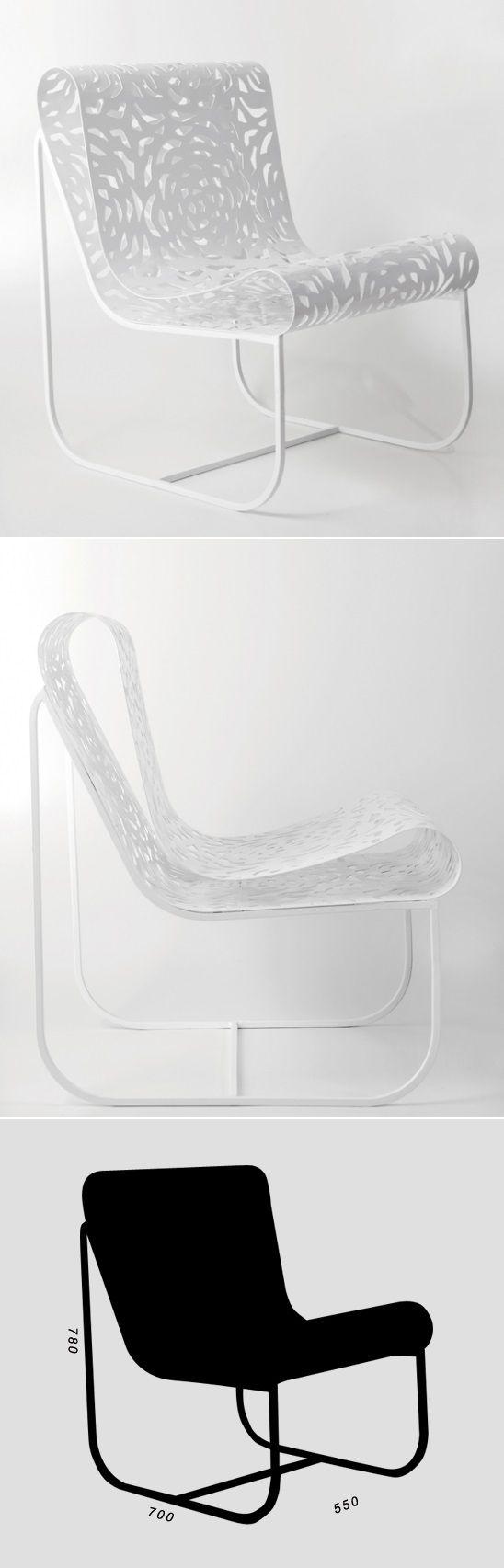 Cadeira renda chapa metálica recortada a lazer com pintura eletrostática - design Jum Nakao
