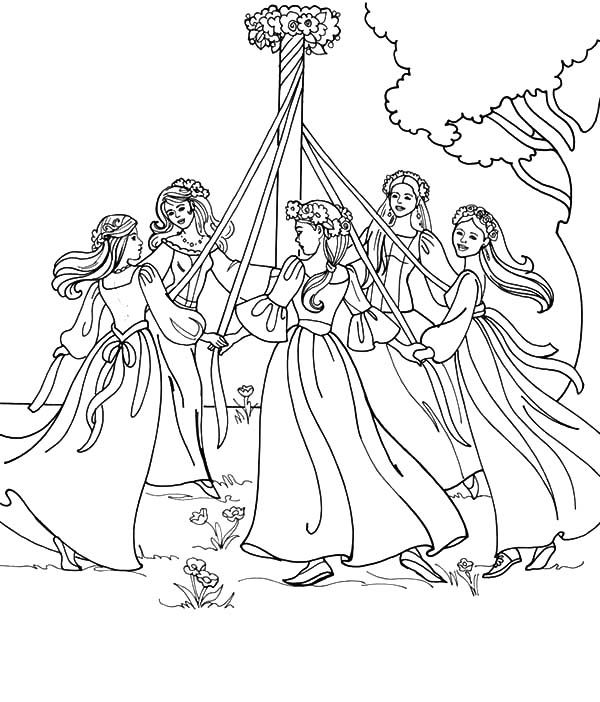 Maypole Dancing On May Day Coloring Pages : Best Place to ...