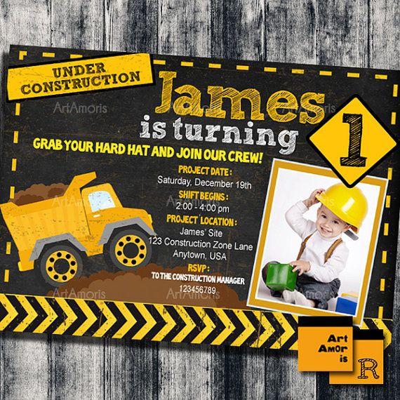 construction birthday invitation construction by artamoris on etsy, Birthday invitations