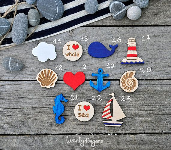 Lovely wooden brooch with sea motifs set of 3 by TheTwentyFingers, $10.00