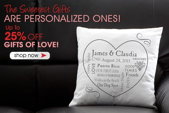 PersonalizationMall is having a Sweetest Day Sale! You can save up to 25% off Personalized Romantic Gifts now through Sunday! They have the cutest stuff - you HAVE to check out this site! #SweetestDay #Romantic #Sale #GiftsRomantic Gift