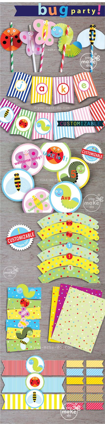 Make a bug party with instant download whimsical bug party printables! Some of these bug party theme printables are CUSTOMIZABLE—add special messages, children's names, or other words to your customizable party printables yourself! Simply click and type on your customizable printables before printing at home or your favorite copy shop! Use these party printables for a bug birthday party, a bug baby shower theme, a classroom party, or a bug first birthday party!