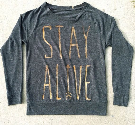 Stay Alive Hunger Games Inspired Relaxed Fit Long Sleeve T by StudioVim. Catching Fire Peeta Katniss