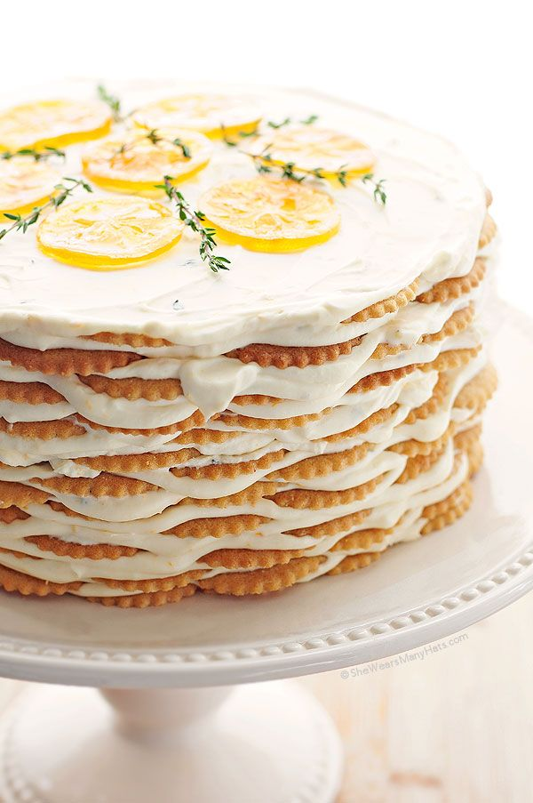 : Cakes Desserts, Lemon Cakes, Icebox Cake Recipes, Sweet, Icebox Cakes Recipes, Food, Meyer Lemon, Lemon Thyme, Thyme Icebox