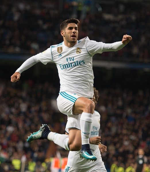 Marco Asensio of Real Madrid CF celebrates after scoring his team's 2nd goal during the La Liga match between Real Madrid and Las Palmas at Estadio Santiago Bernabeu on November 5, 2017 in Madrid, Spain.