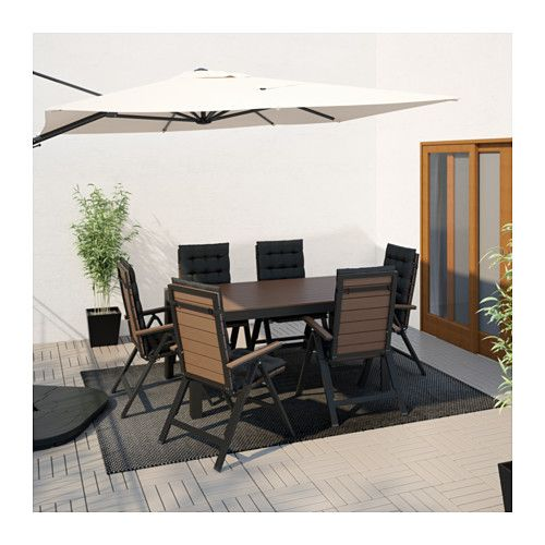 IKEA   FALSTER, Table + 6 Reclining Chairs, Outdoor, Black/brown ,  Polystyrene Slats Are Weather Resistant And Easy To Care For.The Furniture  Is Both Sturdy ...
