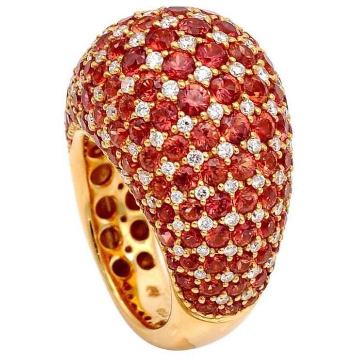 Orange Sapphire Diamond Gold Domed Cluster Ring