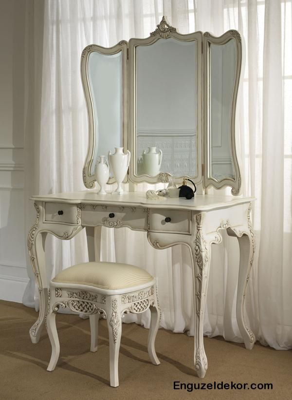 white dressing table, in the white bedroom at Rose cottages and gardens