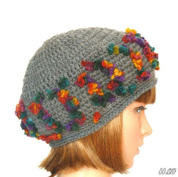 Colorful hat in gray base color crochet winter hat woman by RUMENA