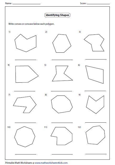 Convex And Concave Shape Worksheets
