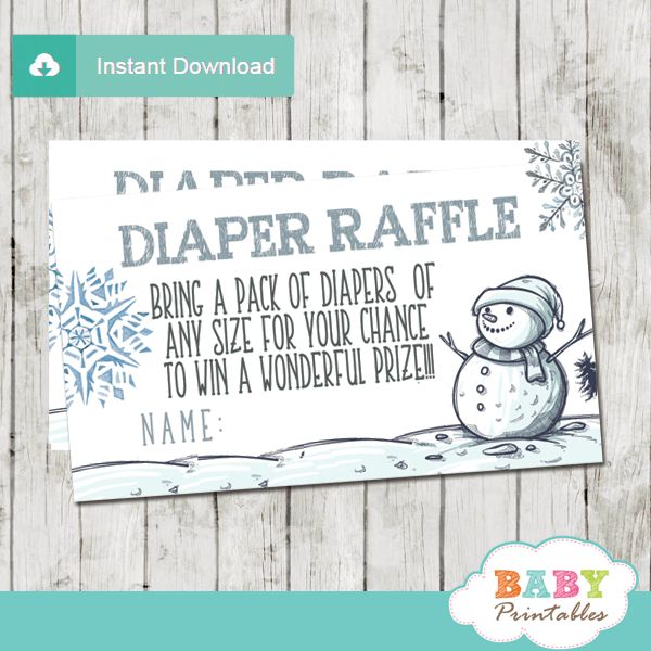 Beautiful Baby It's Cold Outside Diaper Raffle Tickets for a winter wonderland themed baby boy shower. The Baby It's Cold Outside Diaper Raffle Tickets feature a cute, cheerful snowman on a snow covered landscape with snowflakes in silver gray and winter blue accents against a white backdrop. If your baby shower guests are looking forward to a raffle prize, these Baby It's Cold Outside Diaper Raffle Tickets are all you need! #snowman #babyitscoldoutside #winterbaby #winterwonderlandparty