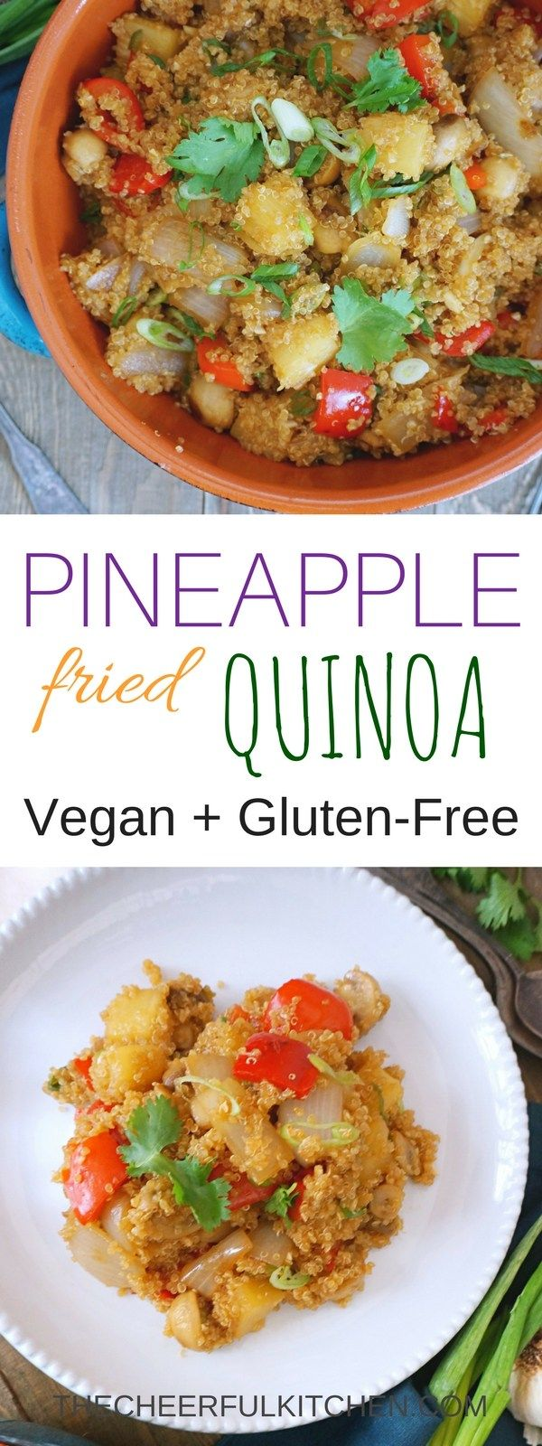 Pineapple Fried Quinoa is a vegan and gluten-free alternative to traditional fried rice. It's an easy dinner that is healthy and completely delicious. Get the recipe at The Cheerful Kitchen.