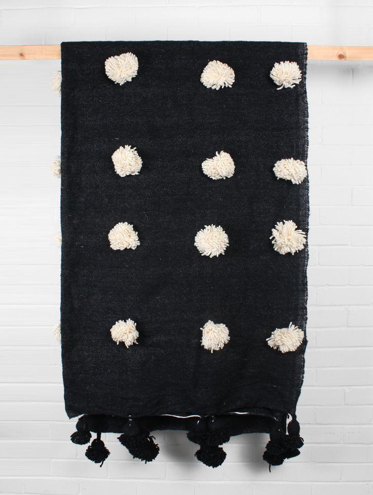 Wool Super Pom Pom Blanket, Black
