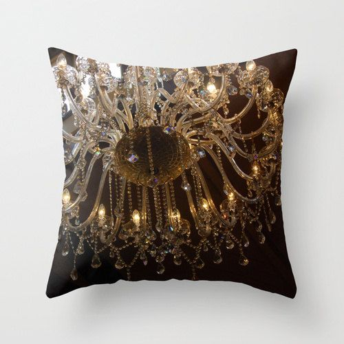 Chandelier pillow, warm ambiance decor, brown chandelier art, living room cushion, antique style pillow, soft furnishing art, romantic light - pinned by pin4etsy.com