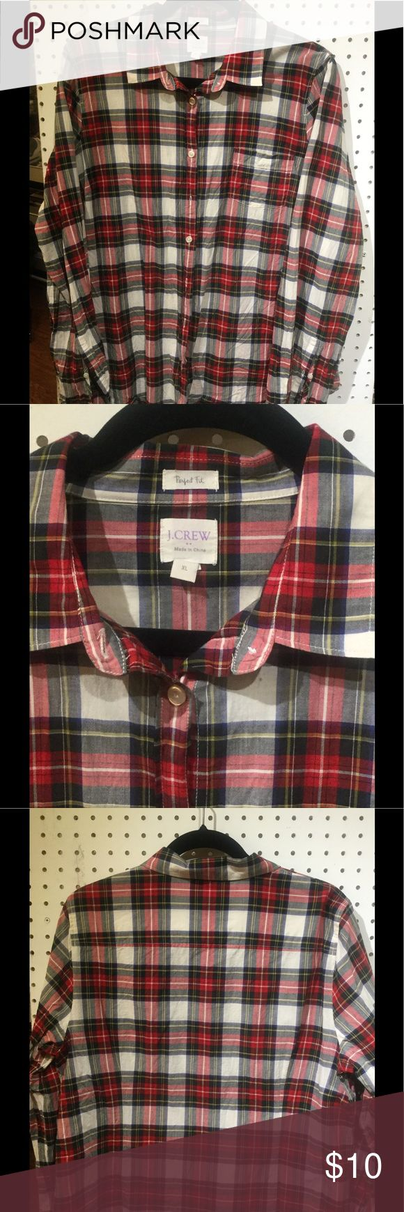 J Crew Outlet Plaid Perfect Fit Blouse Perfect fit plaid blouse. 100%. Machine wash. J Crew Tops Button Down Shirts