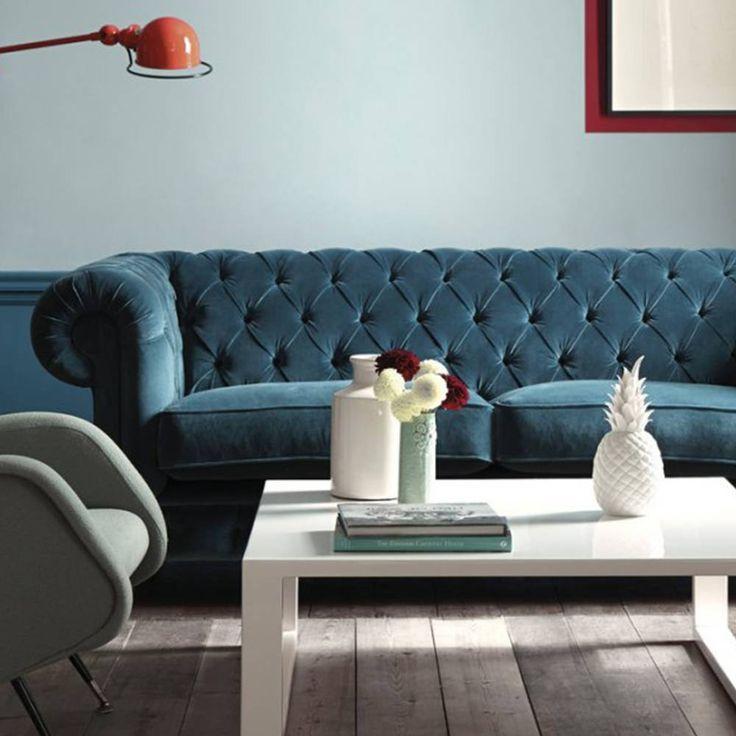 Les 25 meilleures idées de la catégorie Canapé en velours bleu