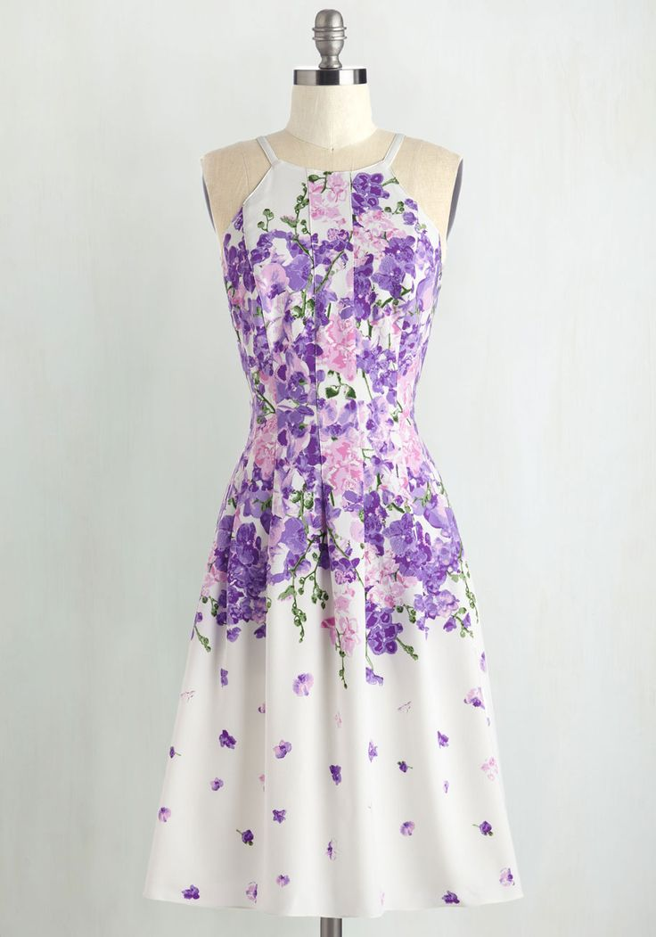 Life Is but a Daydream Dress. Flowers bloom, birds sing, and clouds drift away when you wear this white A-line dress! #purple #modcloth