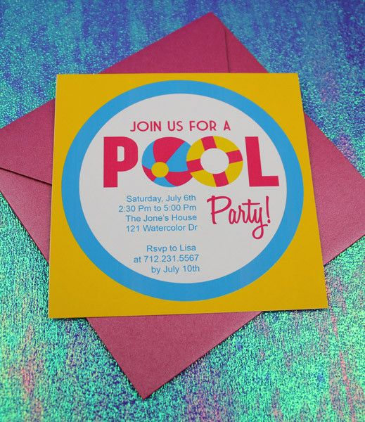 Invitation template pool party with beach ball design for Pool design templates