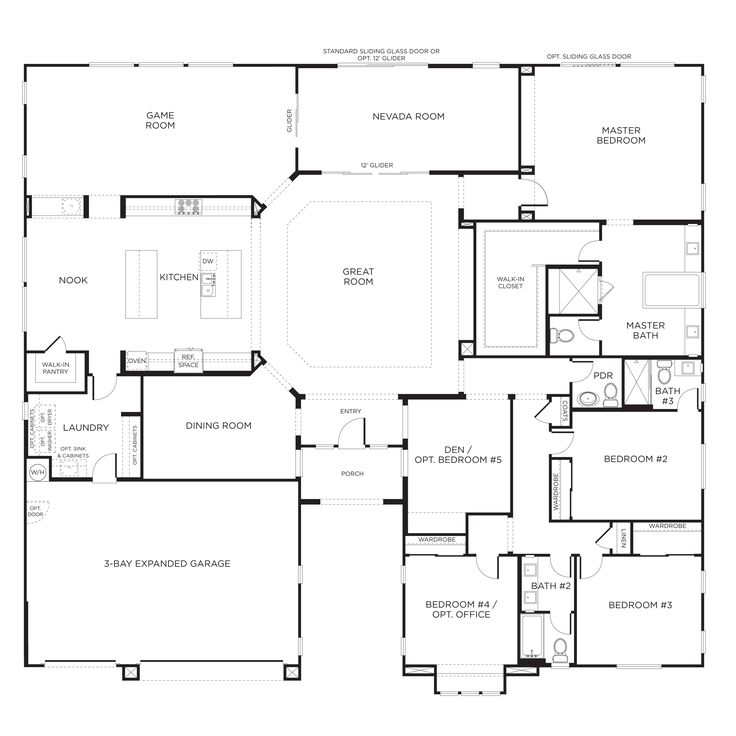 Durango ranch model plan 3br las vegas for the home for Large 1 story house plans
