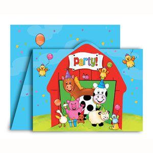 55 - Barnyard Bash Invitations. Pack of 8 Barnyard Bash Invitation, Gatefold Diecut - Pack of 8