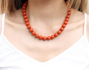 Big Beaded Coral Necklace, Genuine Red-Orange Coral Necklace, Vintage Inspired Jewelry, Sterling Silver Filigree Clasp, 35 Anniversary Gift