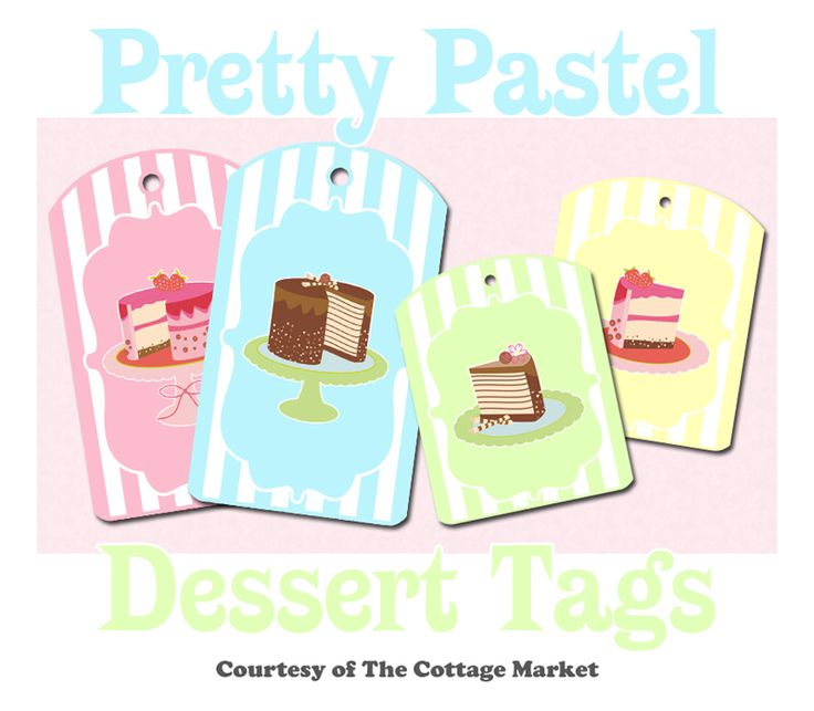 Free Pretty Pastel Dessert Printable Tags