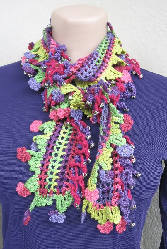 Cotton crochet scarf edged with Oyas Scarf for the by HUCHIDESIGNS, SOLD