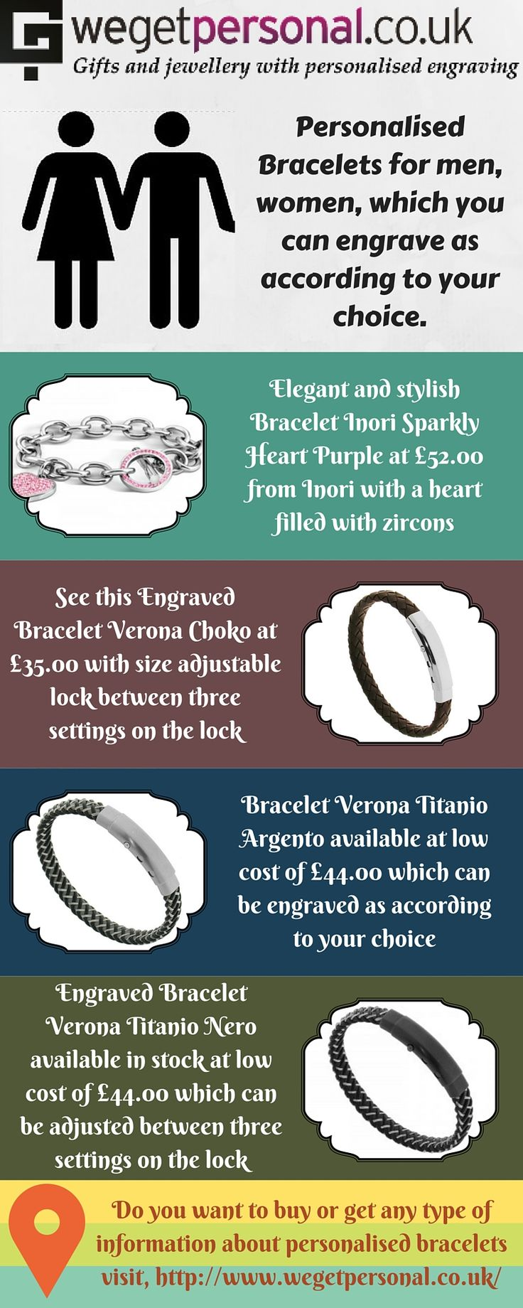 Find out most populer and modern personalised bracelets for men and women at We Get Personal UK. You can choose engraving text, font and size for your bracelet to make it more beautiful. You can carefully bend the bracelet to make it smaller or larger. You need to read our size guide, before ordering an engraved bracelet. #BraceletInoriSparklyHeartPurple #BraceletVeronaChoko #BraceletVeronaTitanioArgento #BraceletVeronaTitanioNero