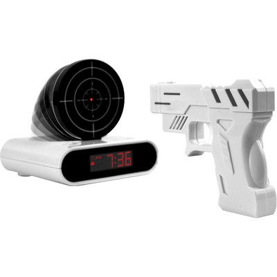 Gun And Target Recordable Alarm Clock (New James Bond Spy Toys)