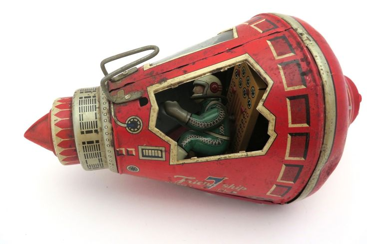 Japanese Tin Friction Toy Space Capsule http://thumbs4.picclick.com/d/w1600/pict/231007514283_/VINTAGE-JAPAN-TIN-FRICTION-TOY-SPACE-CAPSULE-ROCKET.jpg