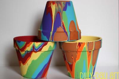 Rainbow Pour Painting PotsCrafts Ideas, Terra Cotta, Painted Pots, Rainbows Pour, Painting Pots, Flower Pots, Cotta Can, Dilly Dali Art, Pour Painting