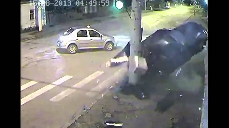 CCTV captures a cars hard crash with utility pole in Russia