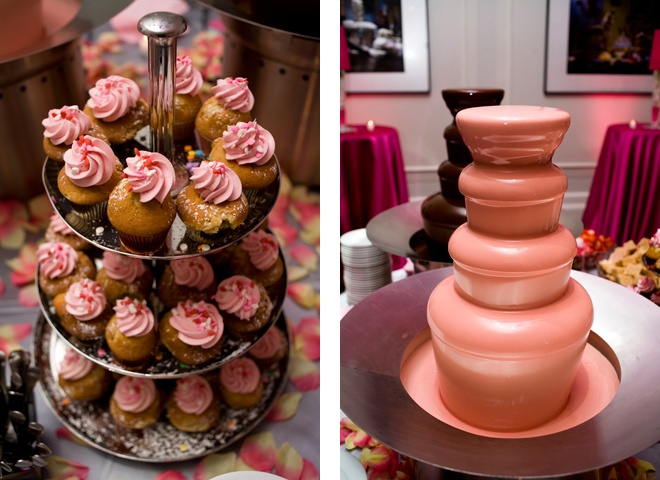 Pink Chocolate Fountain | Pink Frosted Cupcakes Cupcakes