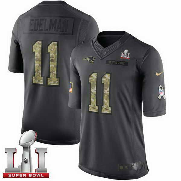 Men's Patriots #11 Julian Edelman Black Super Bowl LI 51 Stitched NFL Limited 2017 Salute To Service Jersey