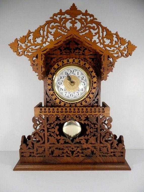 Black Forrest Handmade Wooden Mantle Clock Shelf Clock Walnut Clock Vintage Mantel Clocks Antique Wall Clocks Vintage Wall Clock