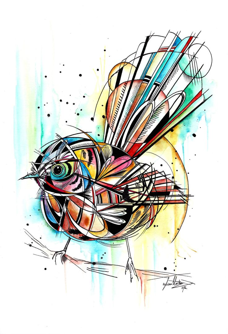 This little guy is a combination of styles inspired by tattoo art. The ink work is also has an aspect of geometry while the bold burst of colour help soften the image. This abstract piece represents one of our New Zealand birds, the Fantail, which is a cute and determined little creature.