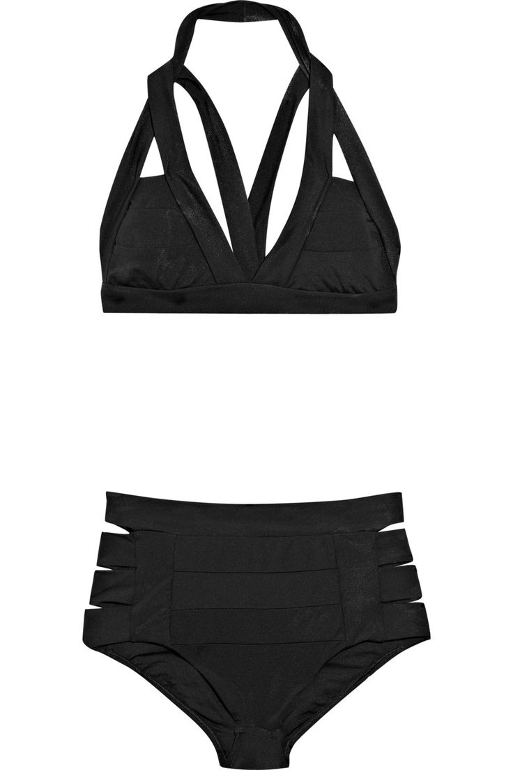 Jets By Jessika Allen Sculpture Cutout Bandage Bikini in Black