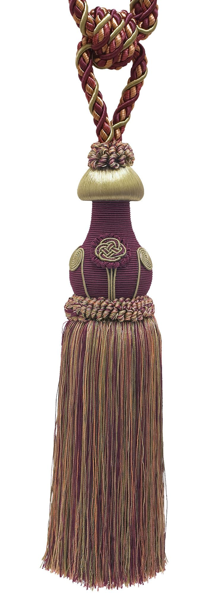 "Decorative PLUM OLIVE GREEN Curtain & Drapery Tassel Tieback /12"" tassel, 32"" Spread (embrace), 7/16"" Cord, Baroque Collection Style# TBBL-1 Color: PLUM OLIVE 7346"