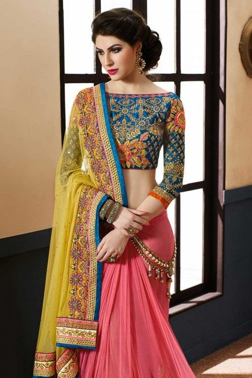 Pink with yellow  Georgette and net Saree With Art silk Blouse