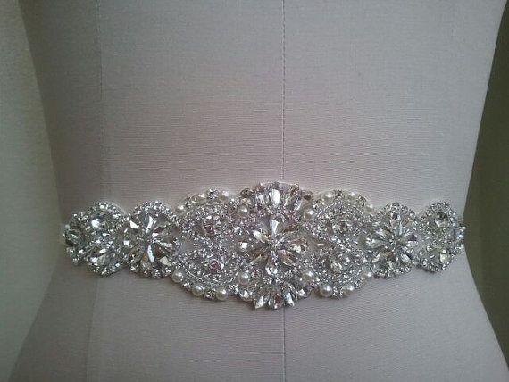 Wedding Belt, Bridal Belt, Sash Belt, Crystal Rhinestone & Off White Pearls  - Style B200099L Etsy Lucy bridal