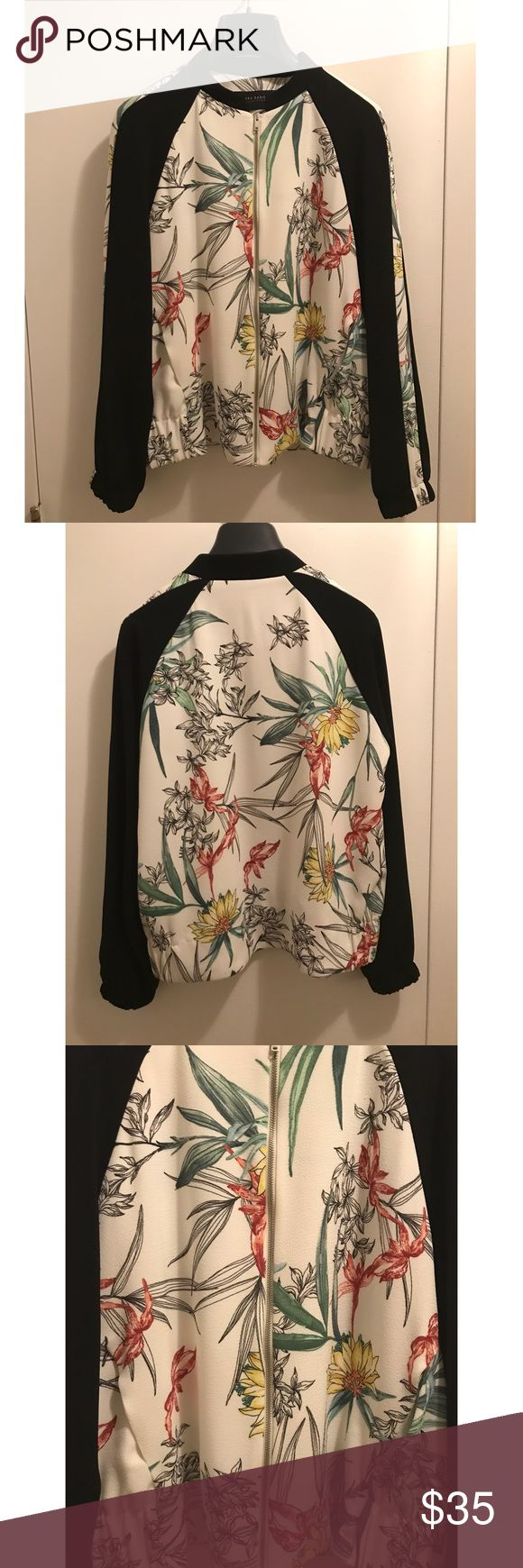 Zara Bomber Jacket Super cute 😍 printed jacket with bomber collar. Features long sleeves, elastic cuffs and hem. It also has two front pockets. It's very light weight. And I have only worn it twice 😁 Zara Jackets & Coats