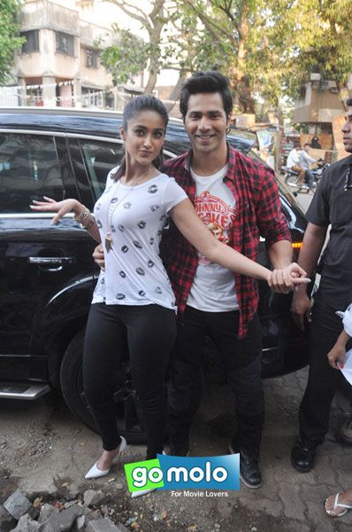 Ileana D'Cruz & Varun Dhawan at the Promotion of Hindi movie 'Main Tera Hero' at Cafe Coffee Day in Mumbai