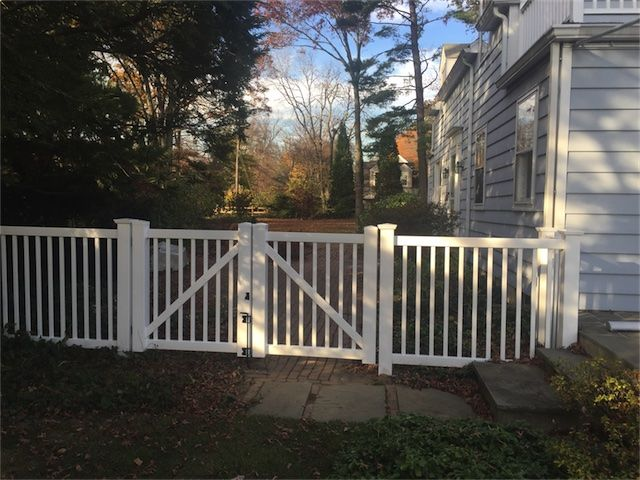 "4 ft high ""ActiveYards Hawthorne"" vinyl fencing in the"