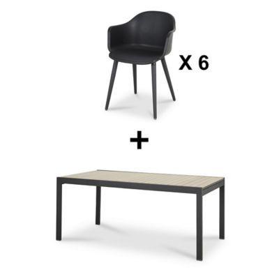 Lot table de jardin aluminium Blooma Morlaix + 6 fauteuils de jardin ...