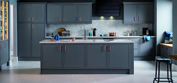 Grey with white worktop. Marble tiled splash back to make look more expensive   MANGET Newbury Grey Kitchen