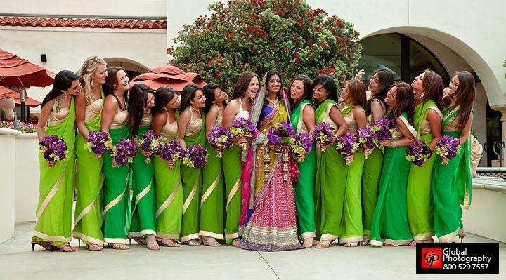 Indian bride with bridesmaids