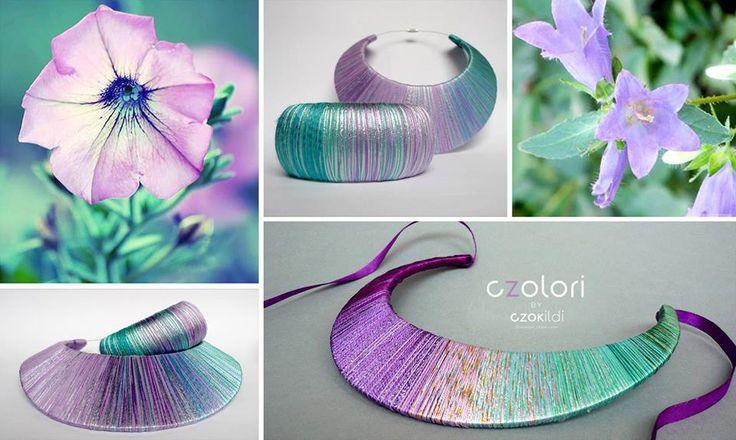Czok Ildi designer jewellery #czokildi #czokildijewellry #designerjewellry #silk #yarn #turquoise #lila #silver #necklace #bracelet * https://www.facebook.com/czokildi