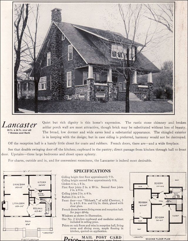 The lancaster bungalow 1922 craftman style by bennett for Brick kit homes