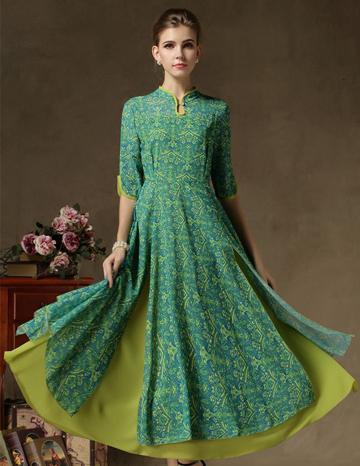 NEW MID SLEEVE ANKLE LENGTH LAYERED MAXI DRESS - TC5 Clothing Co.