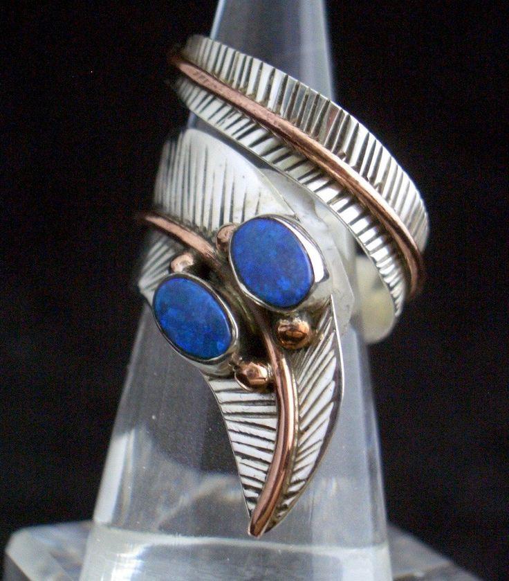 Two Tones Australian Opal Genuine Gemstone 925 Sterling Silver Regency Style Statement Ring Jewellery size adjustable!! by Ameogem on Etsy
